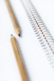 Two simple pencil. On the background of notebook Royalty Free Stock Photo