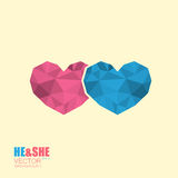 Two simple poligonal hearts icon symbol of man and woman. Two simple polygonal hearts icon symbol of man and woman isolated on beige background Stock Image