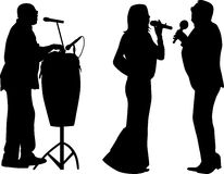 Two singer and drummer Royalty Free Stock Photos