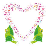 Two singing frogs with frame heart Royalty Free Stock Photos