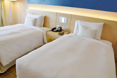 Two single beds. A hotel room of twin beds Royalty Free Stock Photo
