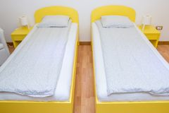 Two single beds royalty free stock photos