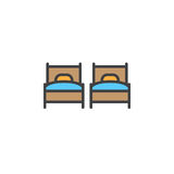 Two single beds line icon, filled outline vector sign, linear colorful pictogram isolated on white. Royalty Free Stock Photo