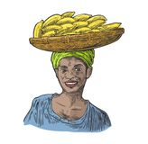 Two single and bunches of fresh banana with leaf. African woman carries a basket with fruits on her head. Stock Photography