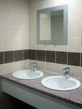 Two sinks and a mirror Royalty Free Stock Images