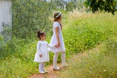 Two sister girls playing together on the green park outdoor. royalty free stock photos