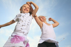 Two sister who having fun together outside Stock Photos