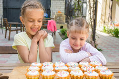 Two sisters with an appetite for looking home-baked Easter cakes. Two sisters with an appetite for looking at home-baked Easter cakes Stock Image