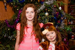Two sisters around the Christmas tree Christmas Stock Image