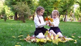 Two sisters in an autumn park. Are sitting on the lawn. They share beautiful fallen leaves with each other. Family holiday outdoors stock video