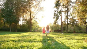 Two sisters with balloons. Family picnic. Two sisters are running with balloons. They run to the sun. Family time. The concept of a happy family stock video