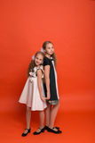 Two sisters in beautiful stylized dresses on a red background in. The studio. Two blonde girls posing in studio stock photo