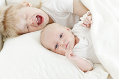 Two sisters in bed Stock Photography