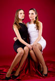 Two sisters in black and white dress. On red background Stock Photos