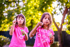 Two sisters blowing bubbles. Little girls are blowing bubbles with the wand in the park Stock Photography