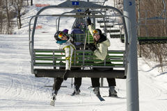 Two sisters on chair lift Stock Photo