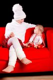 Two sisters with christmas decoration Royalty Free Stock Photography