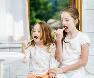 Two sisters cleaning the teeth together Stock Photos
