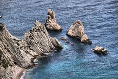 The Two Sisters cliffs in Mount Conero Stock Image
