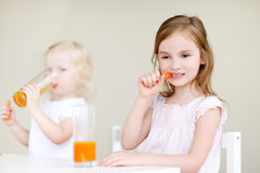 Two sisters eating carrots Stock Images