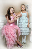 Two sisters in elegant dresses. Two girls sisters in elegant dresses stock photos