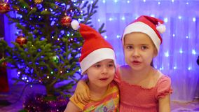 Two sisters embrace and kiss at Christmas party. In the background, lights and garlands of Christmas fir stock video