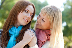 Two sisters embracing in the park Royalty Free Stock Image