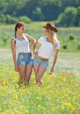 Two sisters in field Royalty Free Stock Photo