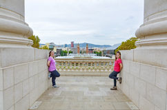 Two sisters in front of the Magic Fountain in Montjuic, Barcelon Stock Photography