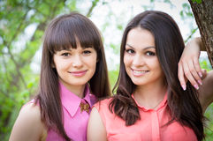 Two sisters girl friends smiling in spring. Two sisters or girl friends smiling, laughing and hug outdoors in spring or summer Stock Photo
