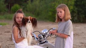 Two sisters have fun together. Two girls play with a dog near the moped at the sea. On this video you can see as the close-knit family has a rest on the seashore stock video footage