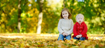 Two sisters having fun in beautiful autumn park Royalty Free Stock Photography
