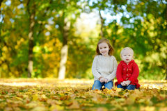 Two sisters having fun in beautiful autumn park Royalty Free Stock Photos