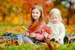 Two sisters having fun together in autumn park Stock Image