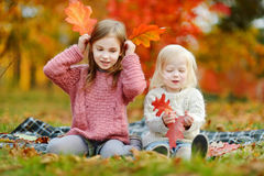Two sisters having fun together in autumn park Stock Photo