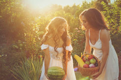 Two sisters hold in hands harvest. Two cute sisters in long white dresses hold in hands of the crop. Girl holding a basket of ripe fruits and vegetables, and the Stock Image