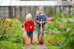 Two sisters holding brooms at autumn Royalty Free Stock Photo