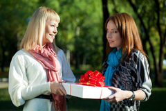 Two sisters holding gift in the park Royalty Free Stock Photos