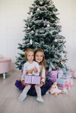 Two sisters at home with Christmas tree and presents. Happy children girls with Christmas gift boxes and decorations. Royalty Free Stock Photography