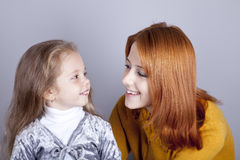 Two sisters looking at at each other Royalty Free Stock Images