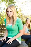Sisters upset and fighting. Two sisters mad angry upset and fighting Royalty Free Stock Photo