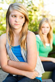 Sisters upset and fighting. Two sisters mad angry upset and fighting Stock Image