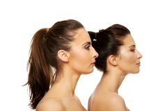 Two sisters with make up. Stock Photos