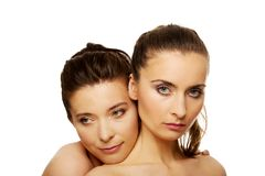 Two sisters with make up. Stock Image