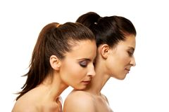 Two sisters with make up. Royalty Free Stock Images