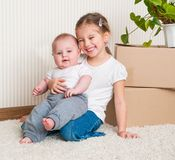 Little girl moving into new house Royalty Free Stock Photos