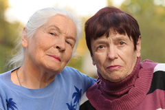 Two sisters of old age Royalty Free Stock Photo