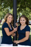 Two Sisters at a park. Two teenage sisters at a park Royalty Free Stock Photography
