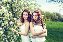 Two sisters in the park Royalty Free Stock Photography