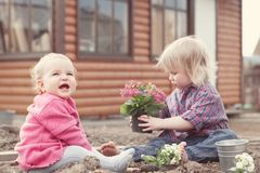 Two sisters planting flowers in  garden. On  background of  wooden house Royalty Free Stock Images